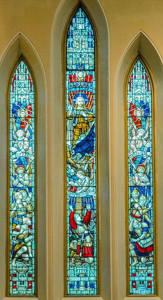 Christ in Glory and Conversion of Saul on the Road to Damascus <br> glass by Clayton & Bell, London