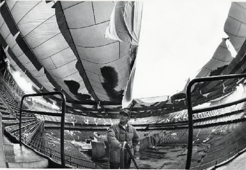 Description of . File Photo -- March 5, 1985.  Pontiac Silverdome roof collapses after a heaving snow.