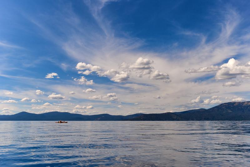 Kayaker on Lake Tahoe near Sand Harbor