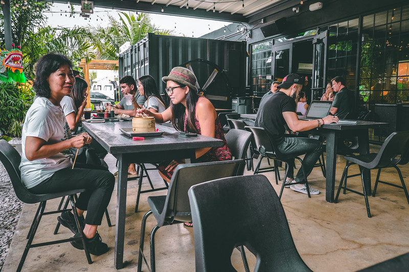 1-800-LUCKY Food Hall in Wynwood, Miami - outdoor seating.