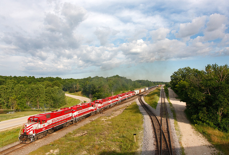 Wisconsin & Southern 3807 (EMD GP38) - Ackerville, WI