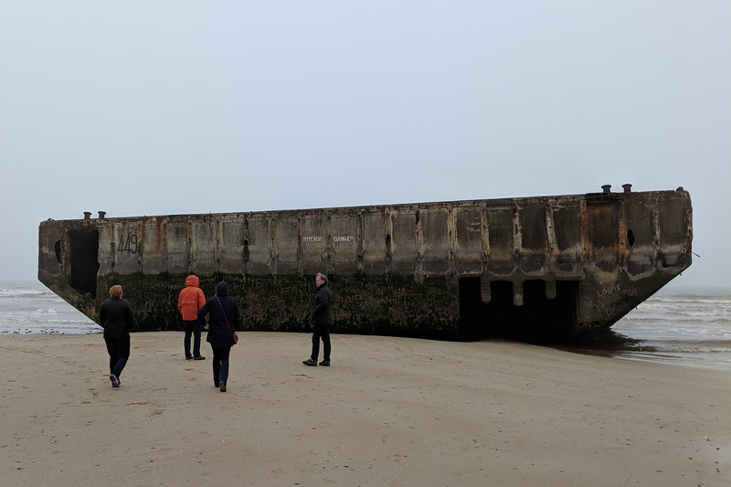 Ships and barges were sunk for breakwall