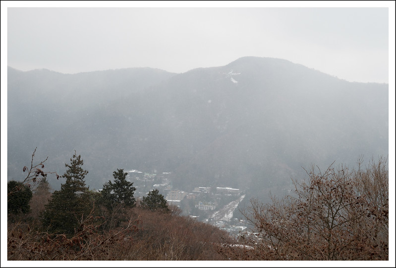 The town of Gora and Daimonji, taken from the dam.