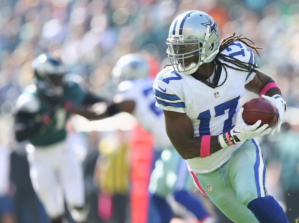 . Dwayne Harris #17 of the Dallas Cowboys carries the ball in the first quarter against the Philadelphia Eagles on October 20, 2013 at Lincoln Financial Field in Philadelphia, Pennslyvania.  (Photo by Elsa/Getty Images)