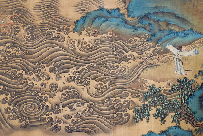 "Detail of ""Gathering of Immortals Offering Blessings,"" attributed to Qiu Ying, National Palace Museum, Taipei"