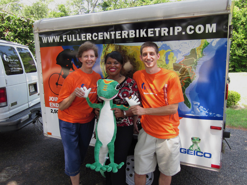 10 06-16 Linda Fuller and Beverly Black at Fuller Center headquarters in Americus wishing the Geico Geiko and Ryan Iafigliola a safe trip up to New York to join up with the other cyclists. ff