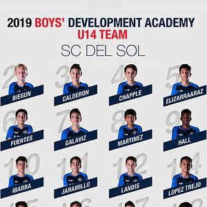 SC Del Sol Boys' DA 2019 U14 Team