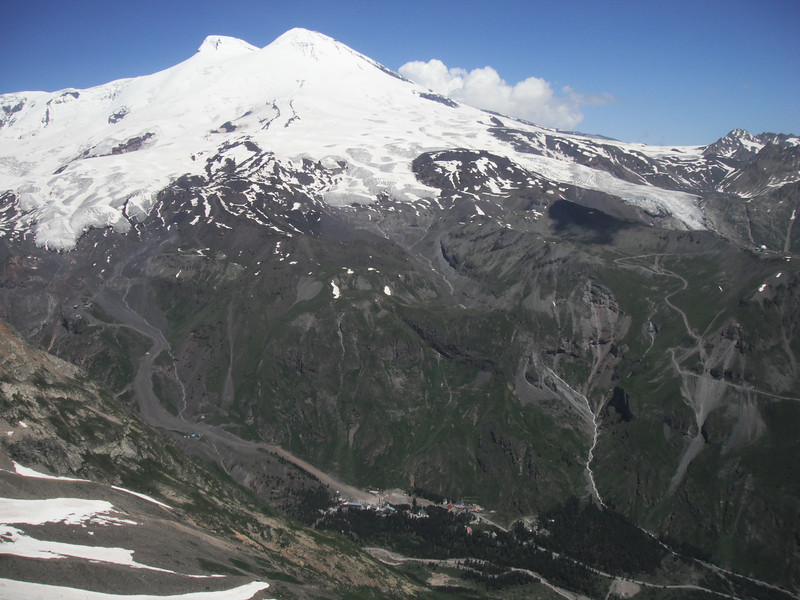 Fantastic view of Elbrus over Baksan Valley and Terskol village.