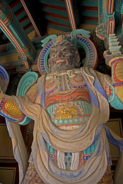 Lifesize guardian sculpture at Gulguksa Temple  Gate - Gyeongju, South Korea