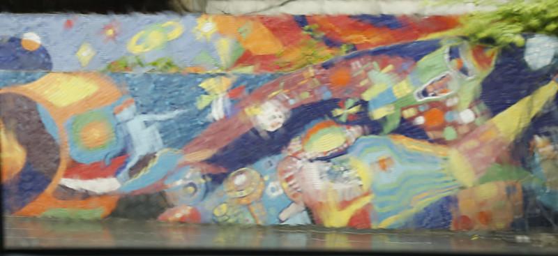 Mural through side window while raining- # 3