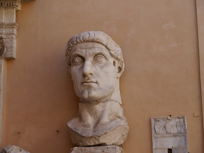 The head of the 15m statue of Constantine in the Capitoline Museum.