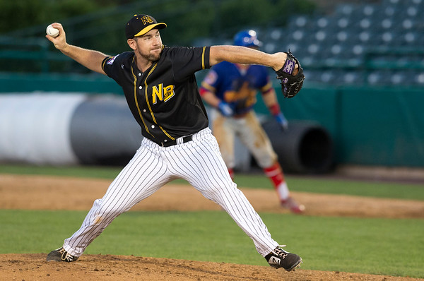 08/15/19 Wesley Bunnell | Staff The New Britain Bees vs the High Point Rockers at New Britain Stadium on Thursday, August 15, 2019. Devin Burke (17).