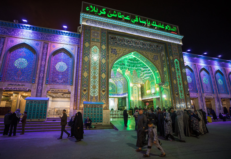 Outside the Shrine of Imam Husayn ibn Ali, the mosque and burial site of the third Imam of Islam and is located near where he was martyred during the Battle of Karbala in 680 AD.