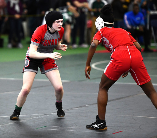 2/29/2020 Mike Orazzi | StaffrConard's Sydney Meikle and Norwich Free Academy's Lennie Lolo during the CIAC 2020 State Open Wrestling Tournament at the Floyd Little Athletic Center in New Haven.rrrr rrr
