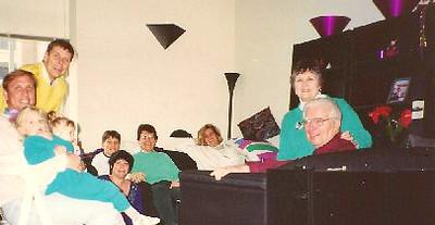 Feb. 19, 1994. At 1 St. Francis Pl., #5108 - Vicki Skinner's. Bill, Kristi & Shawna, Bob & Vic, Jon & Marnie, Lois, Marge & Hank.jpg