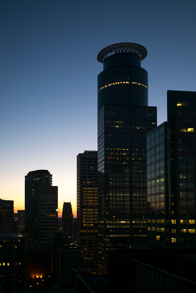 Capella Tower at dusk at Downtown Minneapolis, Hennepin County, Minnesota, USA