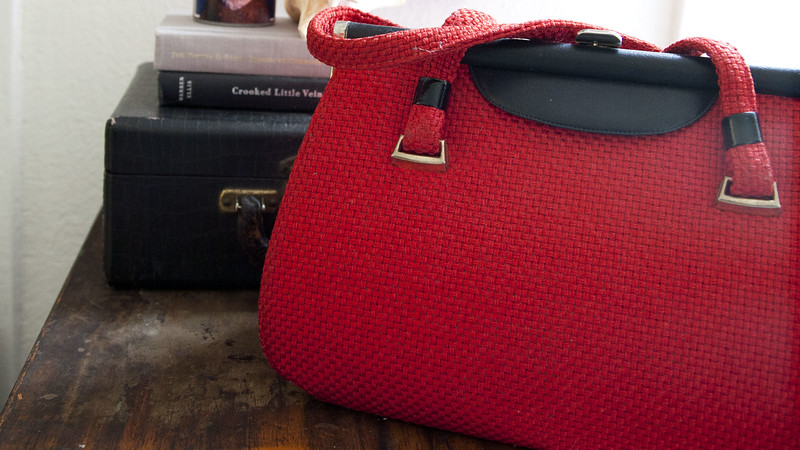 Vintage Red Fabric Purse