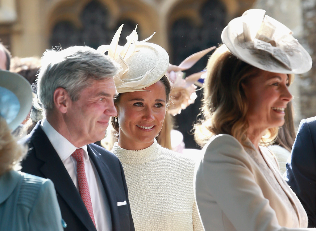 . Michael Middleton, Carole Middleton and Pippa Middleton leave the Church of St Mary Magdalene on the Sandringham Estate for the Christening of Princess Charlotte of Cambridge on July 5, 2015 in King\'s Lynn, England.  (Photo by Chris Jackson/Getty Images)