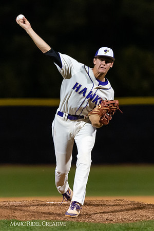 Holly Springs baseball senior Matt Wildness pitches in the Bobby Murray Invitational at Holly Springs High School. April 18, 2019. D4S_8310