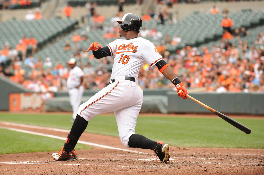 . Adam Jones #10 of the Baltimore Orioles hits a two run home run in the third inning during a baseball game against the Colorado Rockies on August 18, 2013 at Oriole Park at Camden Yards in Baltimore, Maryland.  (Photo by Mitchell Layton/Getty Images)