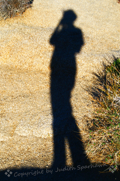 Self Portrait at Jumbo Rocks ~ Standing atop the huge rocks at Jumbo Rocks Campground at Joshua Tree National Park, I looked down and saw my shadow on the rock below.  Couldn't resist taking a self-portrait in memory of a great day in the all outdoors.