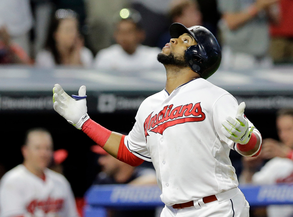 . Cleveland Indians\' Carlos Santana looks up after hitting a solo home run off Chicago White Sox relief pitcher Dan Jennings in the sixth inning of a baseball game, Saturday, June 10, 2017, in Cleveland. (AP Photo/Tony Dejak)