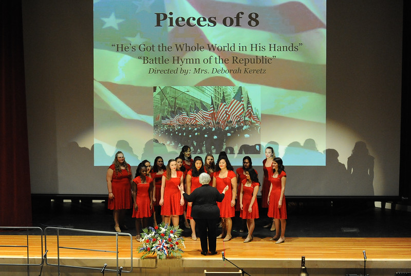 Phillipsburg High School's Pieces of Eight Barbershop Ensemble performs. They are directed by Deborah Keretz. Phillipsburg area veterans Sunday, Nov. 11, 2018  were honored during the 21st annual William L. Nixon tribute. Hundreds attended the event at Phillipsburg High School in Lopatcong Township, in which the U.S. Department of Veterans Affairs has honored as a regional site for the observance of the commemoration.