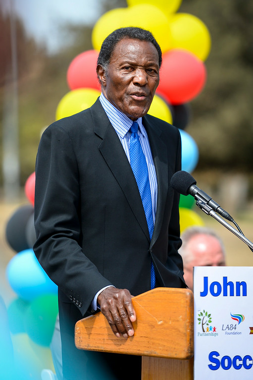 . Olympian Rafer Johnson speaks at the renovation kick-off for the John Ferraro Soccer Fields at Griffith Park.  The city plans to work with the LA84 Foundation to help raise the 10 million necessary to renovate the fields and convert them to artificial turf.   ( Photo by David Crane/Los Angeles Daily News )