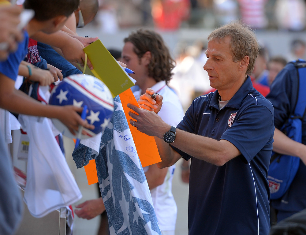 . USA head coach Jurgen Klinsmann signs autographs for fans after the victory at the StubHub Center in Carson, CA on Sunday, February 8, 2015. US men\'s national team beat Panama 2-0 in an international friendly soccer match. 2nd half. (Photo by Scott Varley, Daily Breeze)