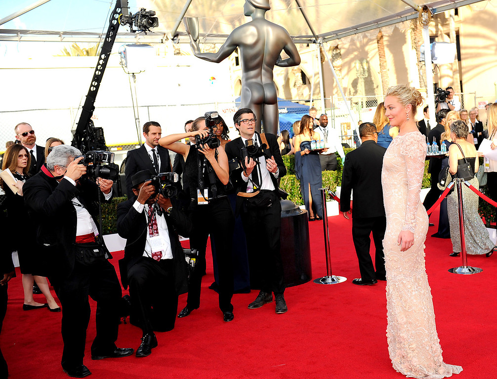 . Elisabeth Rohm arrives at the 20th Annual Screen Actors Guild Awards  at the Shrine Auditorium in Los Angeles, California on Saturday January 18, 2014 (Photo by Michael Owen Baker / Los Angeles Daily News)