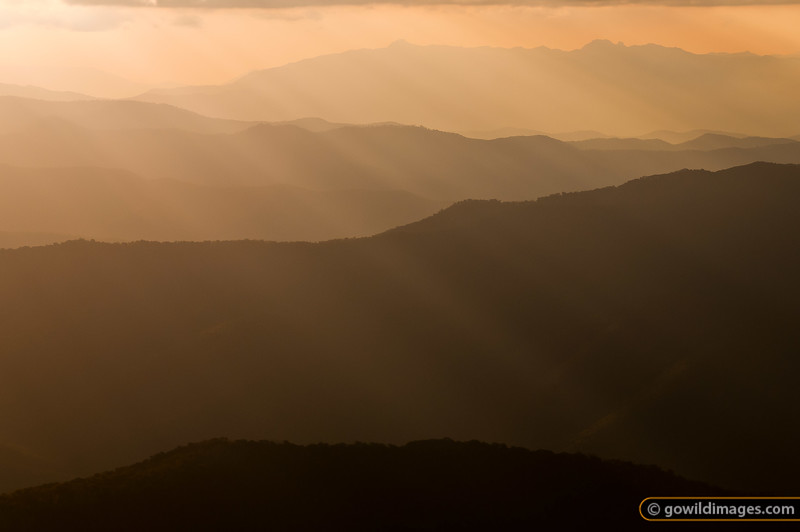 Mt Buffalo at sunset from Mt Feathertop