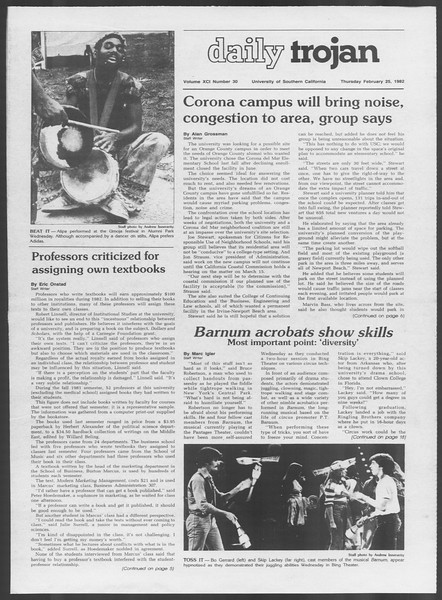 Daily Trojan, Vol. 91, No. 30, February 25, 1982