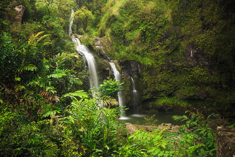 Three Bear Falls or Upper Waikuni Falls on the Road to Hana, Maui, Hawaii