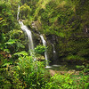 Three Bear Falls or Upper Waikuni Falls on the Road to Hana, Maui, Hawaii