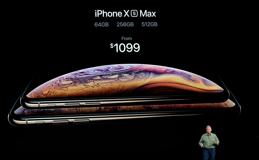 . Phil Schiller, Apple\'s senior vice president of worldwide marketing, speaks about the new Apple iPhone XS Max at the Steve Jobs Theater during an event to announce new Apple products Wednesday, Sept. 12, 2018, in Cupertino, Calif. (AP Photo/Marcio Jose Sanchez)