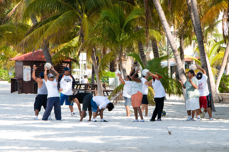 Around Town:  locals' exercise class on beach
