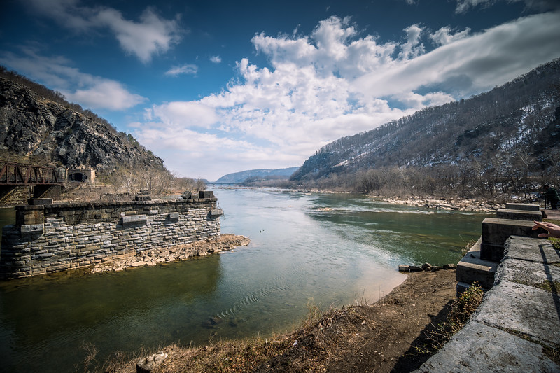 Harper's Ferry WV - Confluence of the Potomac River (left) and Shenandoah River (right).