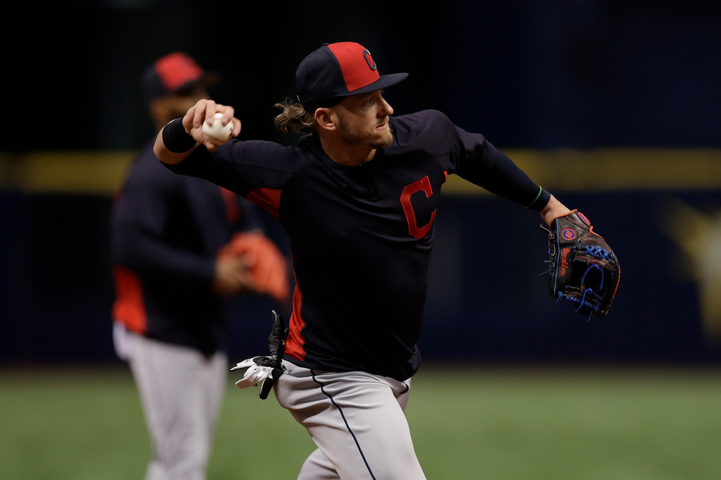 . Cleveland Indians third baseman Josh Donaldson takes infield practice a baseball game against the Tampa Bay Rays Monday, Sept. 10, 2018, in St. Petersburg, Fla. (AP Photo/Chris O\'Meara)