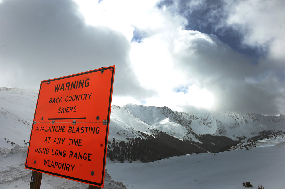 . Signs at the top of Loveland Pass warn back country skiers of the dangerous conditions on Sunday April 21, 2013. fThe avalanche, which was on the western flank of Mount Sniktau in a drainage known as Sheep Creek, took the life of 5 snowboarders.   (Photo By Helen H. Richardson/ The Denver Post)