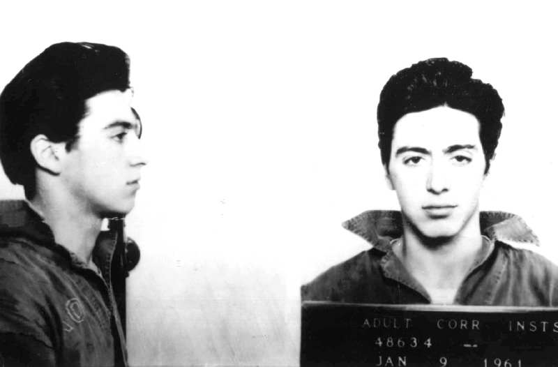 ". Actor Al Pacino is seen in this 1961 mugshot after he was arrested and charged with carrying a concealed weapon in Woonsocket, R.I. This photo is included in the book, ""Mug Shots: Celebrities Under Arrest.\"" (AP Photo/St. Martin\'s Press)"