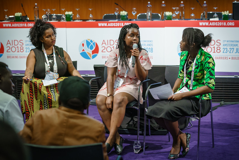 22nd International AIDS Conference (AIDS 2018) Amsterdam, Netherlands.   Copyright: Matthijs Immink/IAS  Young people at the centre: Community mobilization for youth-friendly HIV services  On the photo:  L'Orangelis Thomas Negron Mercy Ngulube  Grace Ngulube