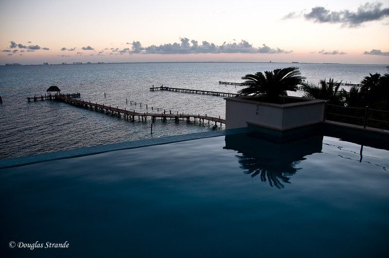 Sunset overlooking the pool