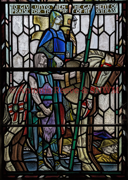 Detail of Shrine window 3 Galgacus, William Wallace and modern soldier