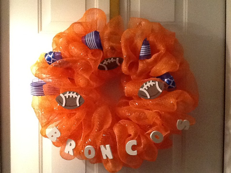 . We were born and raised in Denver and will always be Broncomaniacs, thus the wreath on our front door! (Submitted by Geri Graves)