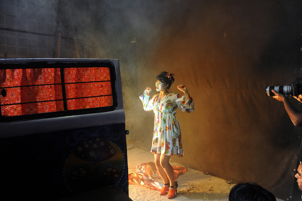 """. Indian actress Vemi Rephung from Nagaland takes part in the shooting of a song sequence on the sets of the forthcoming Bollywood movie - \""""Go Goa Gone\"""" at Filmcity in Mumbai on April 8, 2013. India\'s  One hundred years after the screening of a black-and-white silent film, India\'s brash, song-and-dance-laden Bollywood film industry celebrates its centenary later this week. The milestone will be marked with the release of \""""Bombay Talkies\"""", made up of short commemorative films by four leading directors, while India will be honoured as \""""guest country\"""" at next month\'s Cannes festival, a century since India\'s first silent feature film \""""Raja Harishchandra\"""" opened in Mumbai in 1913. INDRANIL MUKHERJEE/AFP/Getty Images"""