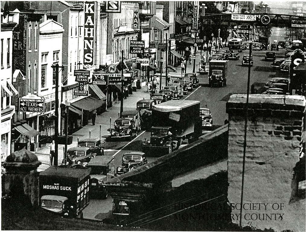 . This photo from the Historical Society of Montgomery County shows a busy Main Street in Norristown in the 1940s.