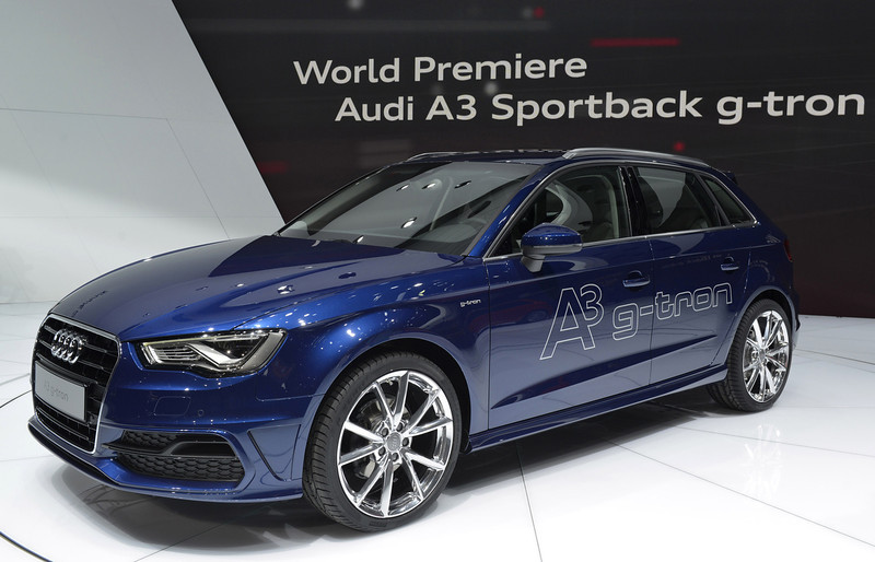 . The new Audi A3 Sportback is displayed in World premiere at the German carmaker\'s booth on March 5, 2013 on the press day of the Geneva car Show in Geneva.  The Geneva International Motor Show opened its doors to the press under a dark cloud, with no sign of a speedy rebound in sight for the troubled European market. The event, which is considered one of the most important car shows of the year, will again be heavily marked by the crisis in Europe after an already catastrophic year in 2012.   SEBASTIEN FEVAL/AFP/Getty Images
