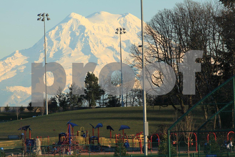 Regional Athletic Complex 8827: Mt. Rainier looms over the new Regional Athletic Complex in Olympia, WA .