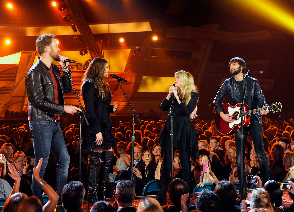. Singer Stevie Nicks (2nd L) performs with singers (L-R) Charles Kelley, Hillary Scott and Dave Haywood of Lady Antebellum onstage during the 49th Annual Academy Of Country Music Awards at the MGM Grand Garden Arena on April 6, 2014 in Las Vegas, Nevada.  (Photo by Ethan Miller/Getty Images)