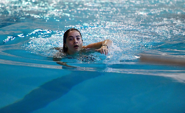 10/12/2019 Mike Orazzi | Staff Bristol Central's Yatzil Torres Valentin during the city swim meet on Saturday night.